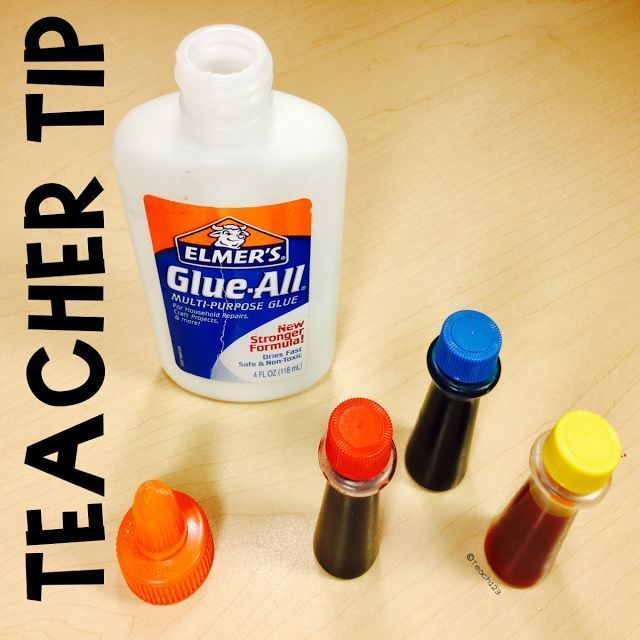 Glue Tips - let your students practice glue skills with colorful glue.  You make your own colorful glue cheap.  Grab the FREE A Dot is a Lot printable.