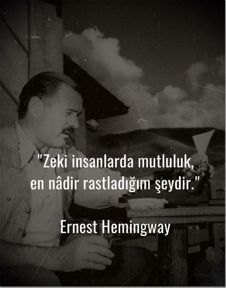 Zeki insanlarda mutluluk en nadir rastladığım şeydir...   - Ernest Hemingway