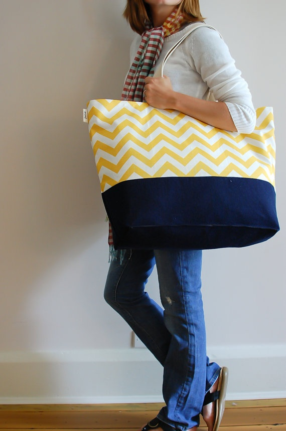 Large beach beach bag with yellow chevron stripes.