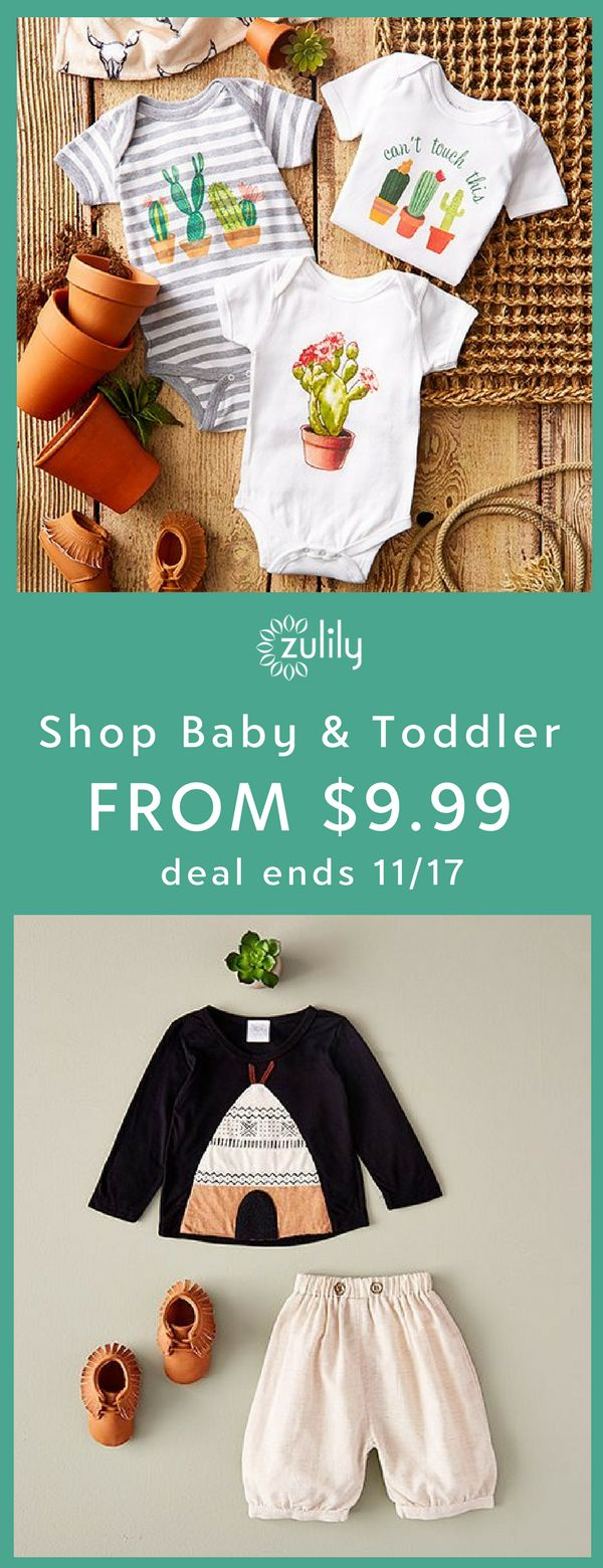 Sign up to shop baby and toddler apparel starting at $9.99. From horseback rides to boot-scootin' boogies, little ones celebrate their adventurous side with nursery pieces and apparel inspired by the Southwest. Shop baby gear, from cactus bodysuits, to floral skill sweatshirts, woodland bedding sets, and more. Deal ends 11/17.
