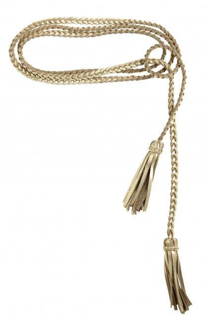 Metallic Leather Fringe Braid Belt   | Calypso St. Barth 85