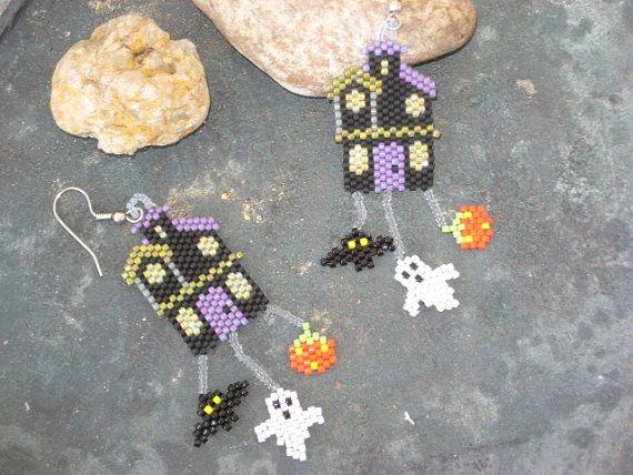 Spooky House earrings, Halloween earrings