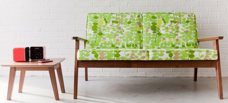 green retro style sofa