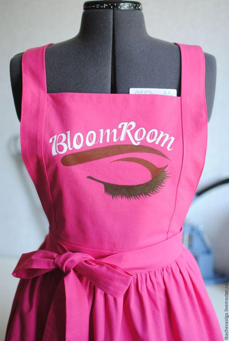 Купить Фартук для визажиста - розовый, фартук, визажист, надпись, ручная работа, роспись по ткани