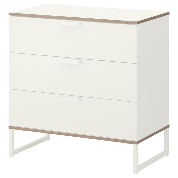 TRYSIL Chest of 3 drawers, white, light grey $89 The price reflects selected options Article Number :902.359.66 Smooth running drawer with pull-out stop. Read more Size 75x77 cm