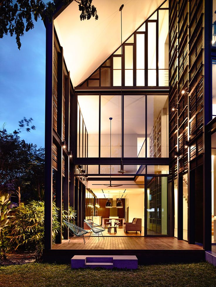 Corner Terrace House Clad in Timber Screens  Lines of Light Residence Singapore 1325 best Contemporary Homes images on Pinterest Modern