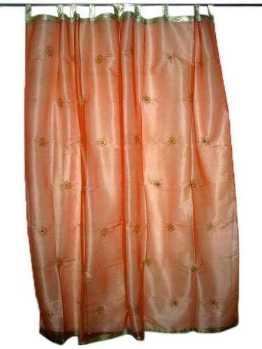 2 India Sari Peach Curtain Embroidered Mirror Work Sheer Curtain Drapes | eBay