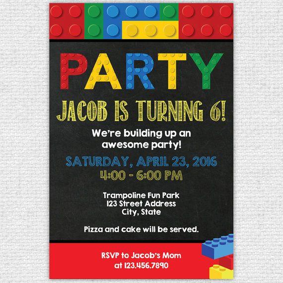 Lego Party Invitation Lego Birthday Invitation by IdRatherDoodle