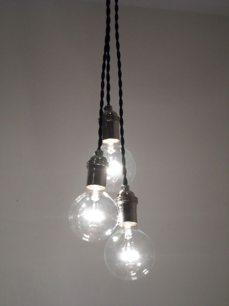 Details about 3 pendant ceiling fixture pendant lighting for Industrial bulb pendant
