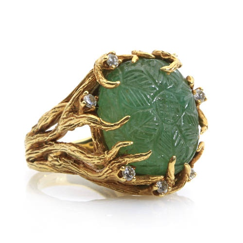 Carved emerald, diamond and 18k gold ring