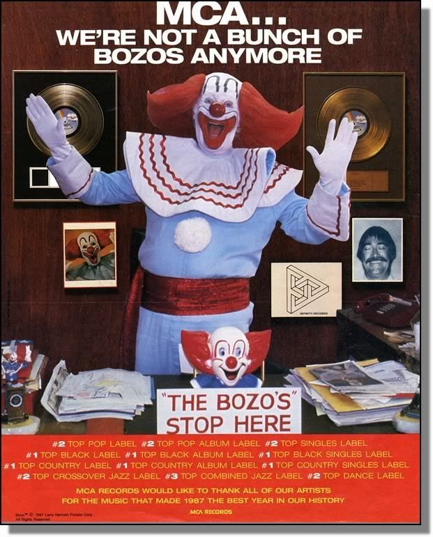 1987 Bozo The Clown - Not any more - MCA Records Ad