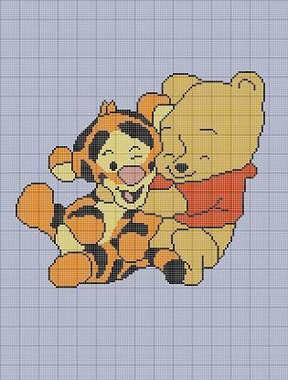 free crochet winnie the pooh pattern | BABY WINNIE THE POOH AND TIGGER CROCHET PATTERN AFGHAN GRAPH E-MAILED ...