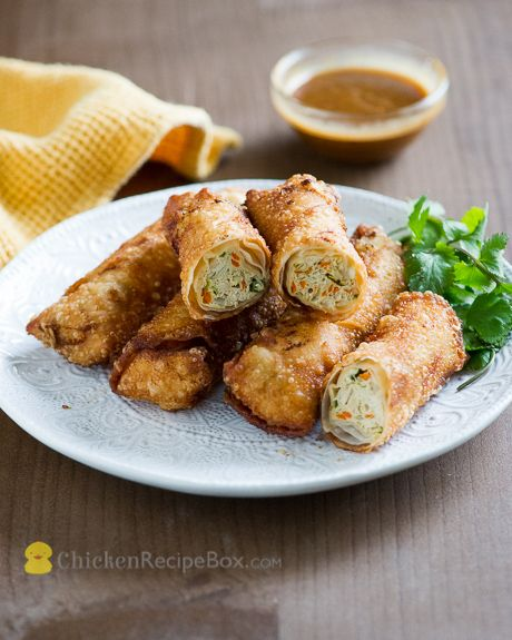 Homemade Chicken Vegetable Egg Rolls recipe that your whole family will love via ChickenRecipeBox.com