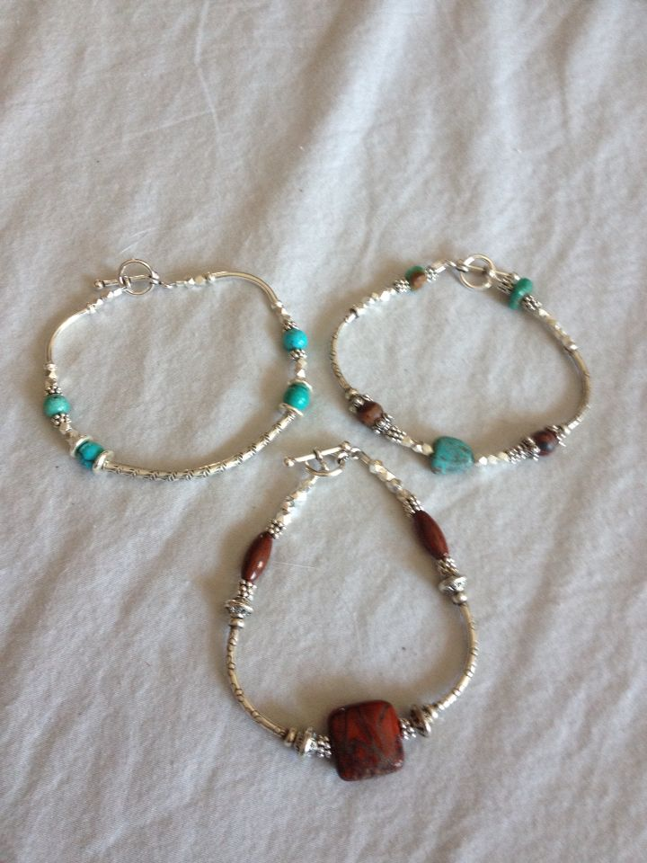 New creations. Sterling silver with genuine turquoise and jasper