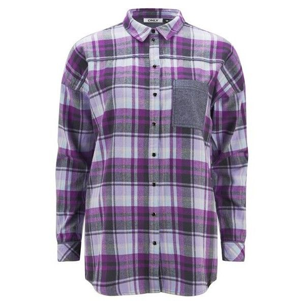 ONLY Women's Sade Check Shirt - Silver Pink (540 ZAR) ❤ liked on Polyvore featuring tops, shirts, long sleeve shirts, pink, long sleeve collared shirt, long sleeve tops, pink shirt, loose shirts and pink top