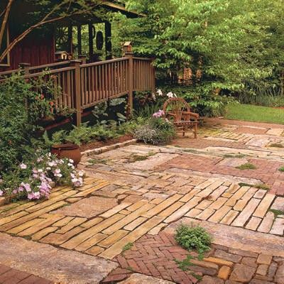 Patchwork Quilt Patio   Porch And Patio Design Inspiration   Southern  Living: This Patio Was Created From Recycled Materials.