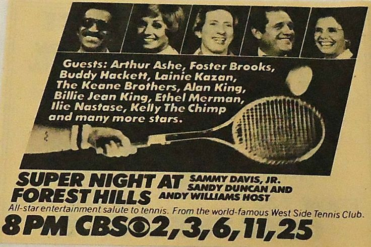 A Star Studded Night in Forest Hills — with Sammy Davis Junior, Sandy Duncan, Buddy Hackett, Andy Williams, Ethel Merman, Lainie Kazan, Alan King and Billie Jean King.