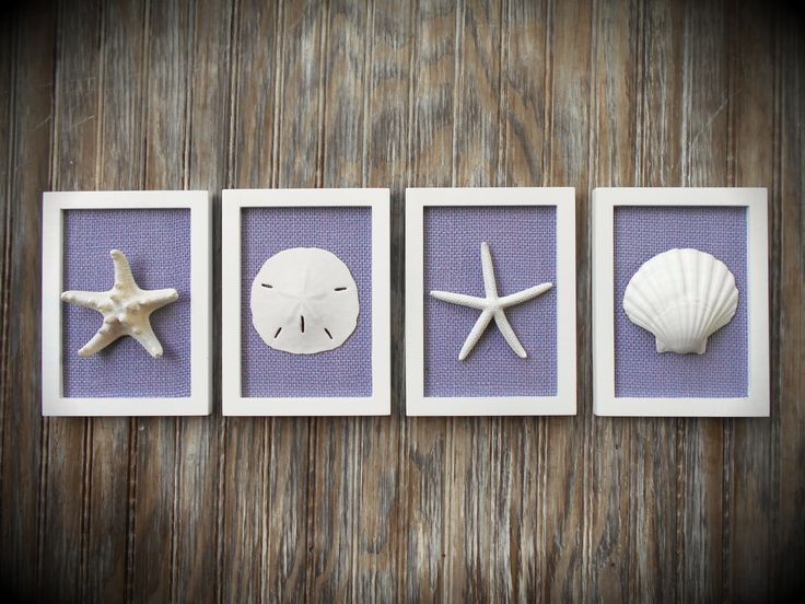 Cottage Chic Set of Beach Decor Wall Art Nautical Decor Beach House Wall Decor Beach Decor Coastal Art White with Violet Purple Burlap (69.99 USD) by OMearasCottageCharm