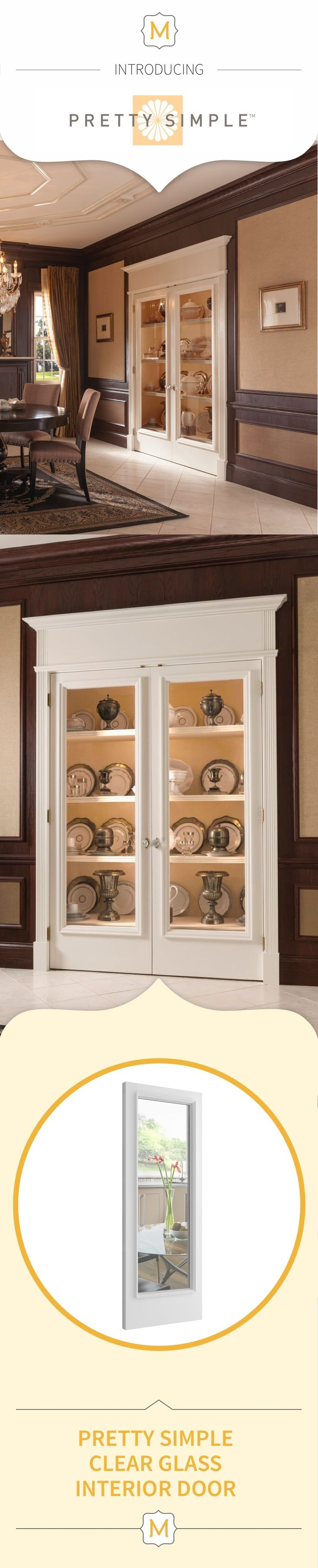 Typical china cabinets are so yesterday. These clear glass doors from the Metrie Pretty Simple Collection are the perfect way to display your finer antiques in a very modern way.