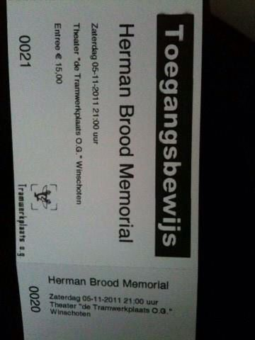 Toegangsbewijs  Herman Brood Memorial