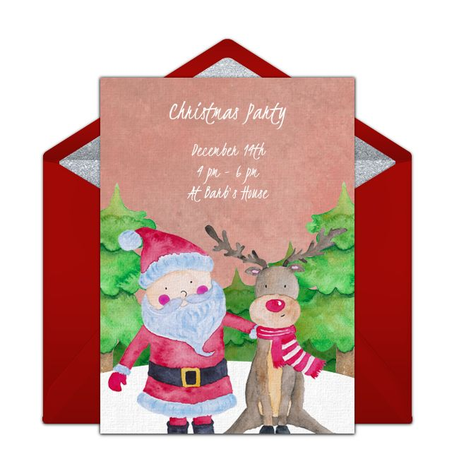 Tons of free Christmas party invitation templates to choose from. We love this free invite with a festive Santa and his reindeer, perfect for inviting friends and family to a holiday party.