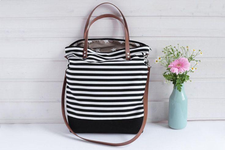 ***+Canvas+Tasche+schwarz-weiß+gestreift+***+von+HollyundHoney+auf+DaWanda.com