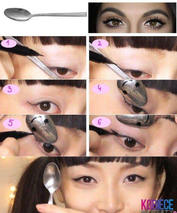 40 DIY Beauty Hacks That Are Borderline Genius---Ex: Use a spoon sideways to get a purrrfect cat eye look