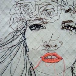 Artist Nike Schroeder hand sews illustrations