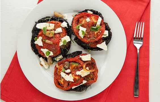 Portobello Mushroom Caps With Feta, Tomato, and Mint