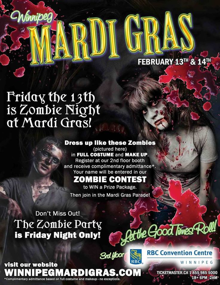 Know Any Zombies?? Tell them to come out to Winnipeg Mardi Gras on #Friday the 13th and they get #free #admission… You must have #full #zombie #MakeUp & #Costume to get #free #admission #Book with Samantha Wpg for your #ZombieMakeUp & #BodyPainting for #MardiGras #Weekend! #Feb 13th & #Feb 14th in #Winnipeg #wpgmardigras http://winnipegbodypainting.blogspot.ca/2015/01/know-any-zombies-book-with-samantha-wpg.html
