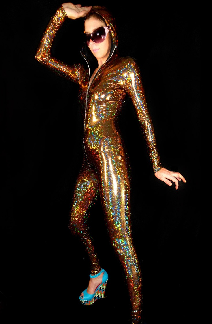 Mesmerizing Holographic Gold Bodysuit, be the Goldfinger Chick, Made to order. $125.00, via Etsy.