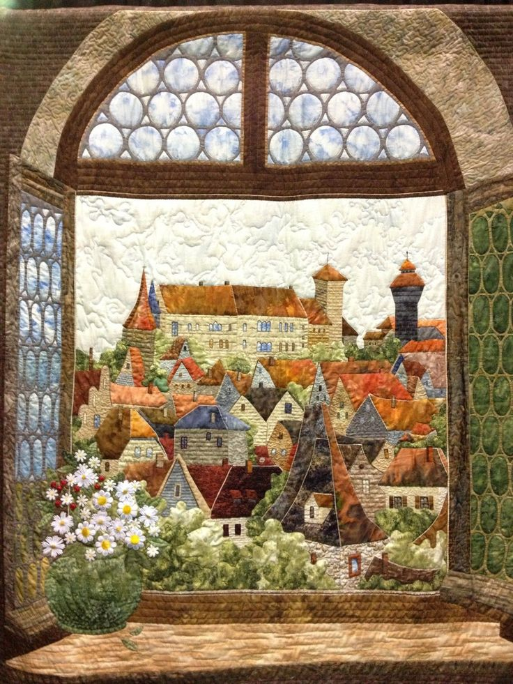 "Love this architecture landscape quilt. ""View through the window"", (pinned by Janet the Quilter)."
