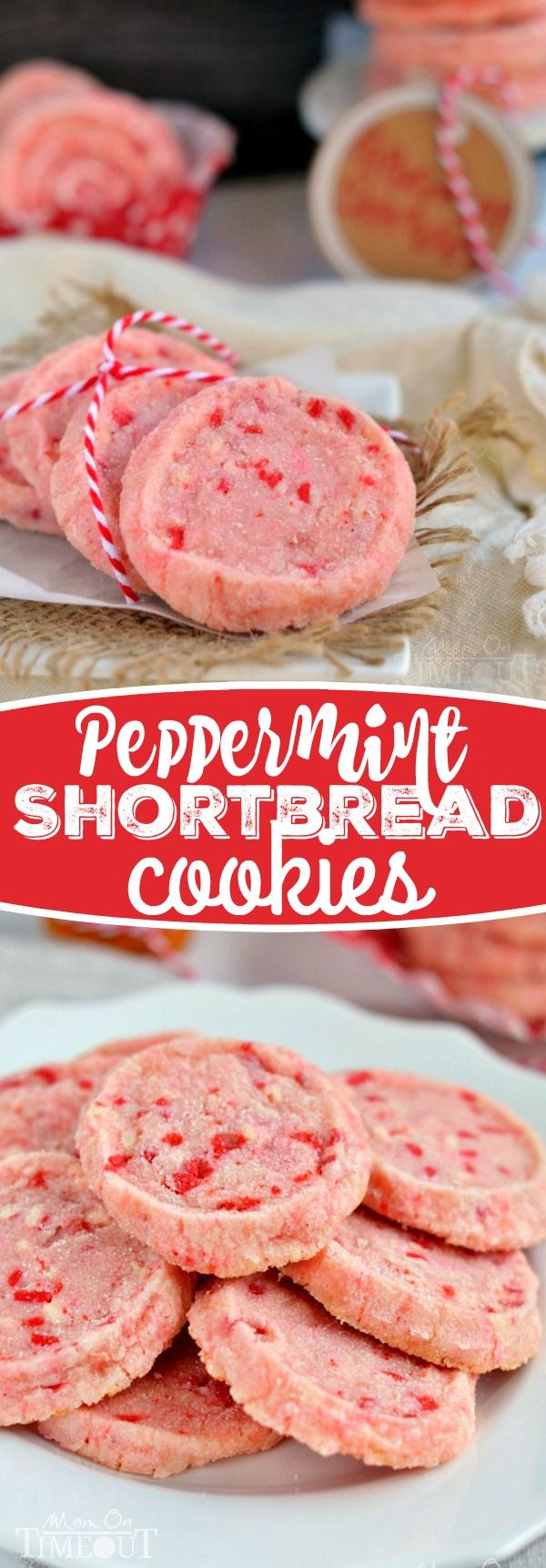 These festive Peppermint Shortbread Cookies are the perfect addition to your holiday cookie trays this year! With only five ingredients, they are quick and easy to make and look so gosh darn pretty! // Mom On Timeout