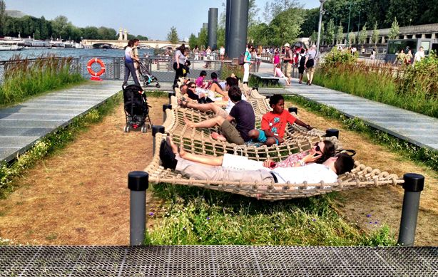 floating-gardens-giant-chalkboards-and-climbing-walls-on-banks-of-seine-in-paris/ The approximately 1.5-mile stretch features edible and floating gardens, patches of local plants, entertainment venues and innovative areas for children and adults to play and relax.