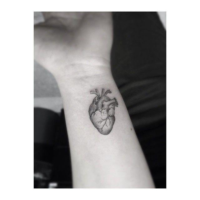 Perfectly Small Anatomic Heart Tattoo.