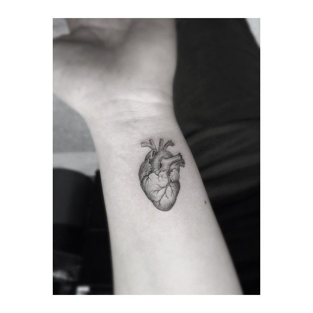 Perfectly small anatomic heart tattoo.