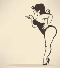 plus size pinup girl on beige background vector art illustration