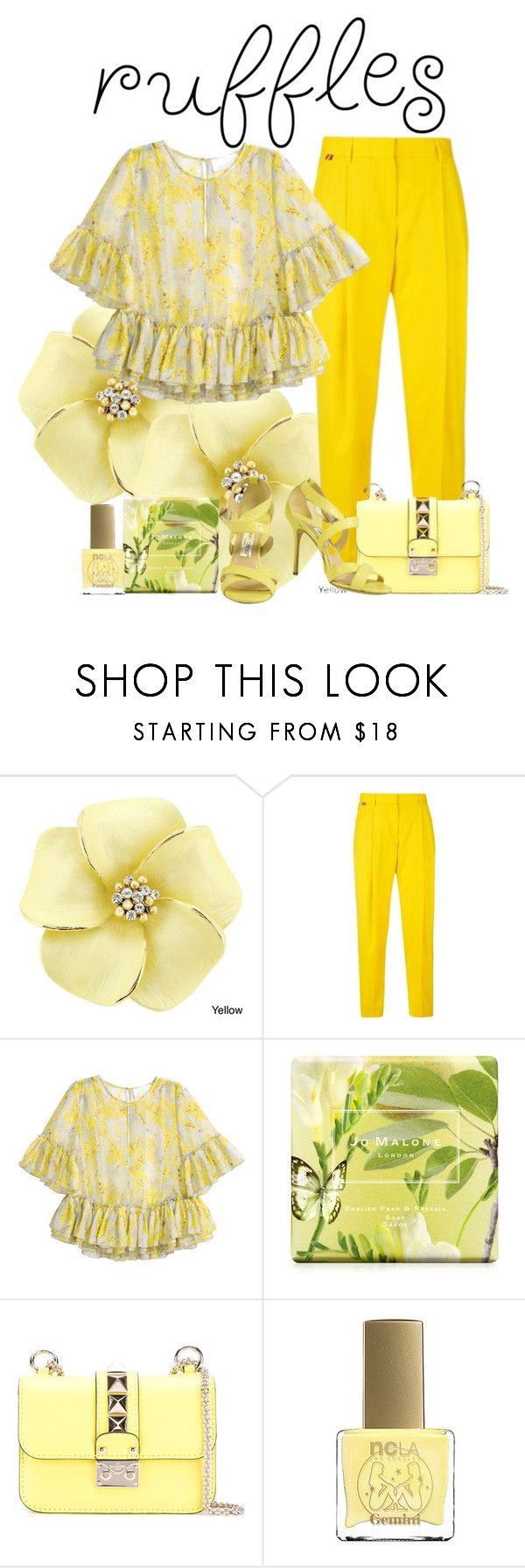 """ruffles"" by the-vintage-palace2016 ❤ liked on Polyvore featuring Paul Smith, H&M, Jo Malone, Valentino, ncLA and Jimmy Choo"