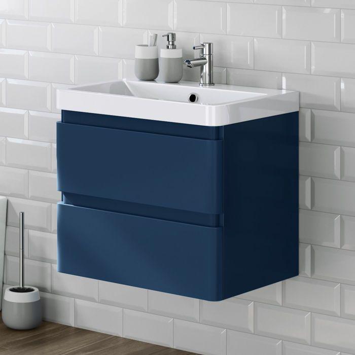 600mm Denver Ii Matte Blue Built In Basin Drawer Unit Wall Hung Vanity Units Drawer Unit Wall Mounted Bathroom Cabinets