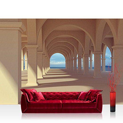 Vlies Fototapete 350x245 cm PREMIUM PLUS Wand Foto Tapete Wand Bild Vliestapete - ROMANTIC ARCADE - Romantic 3D Perspektive Säulengang Arkade - no. 069