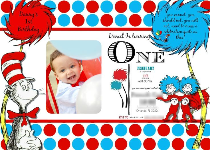 125 best danny's first birthday - cat in the hat images on, Birthday invitations