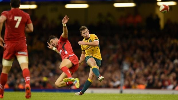 Bernard Foley boots the game-breaking drop goal against Wales.