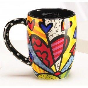 #Café * #Coffee ☆ #Xícaras com #design #decor #criativas ☆ #Coração by * Romero Britto