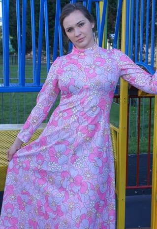 Pink Maxi 60s/70s dress size 14 flower power print SALE