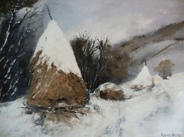 Haystacks in the winter