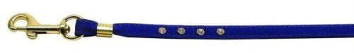 Dog Supplies Velvet Flat Leash Blue 3/8 Clear Jewel Leash *** You can get more details by clicking on the image.