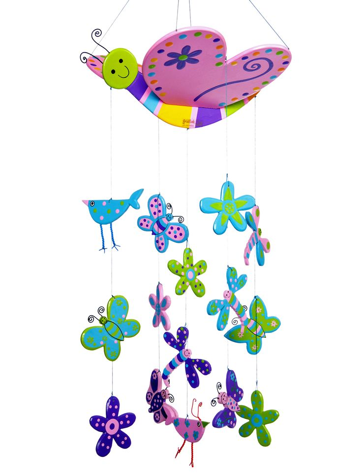This cute Wooden Butterfly mobile features 15 pink butterflies, pink and turquoise dragonflies and even some daisies! Happy wooden mobiles are designed in Australia by Goldfish Gifts and lovingly handmade in a small family workshop in Bali. All the paints used are non toxic and the mobiles are totally made by hand. The wood used is either mdf or pine from controlled plantation forests. This set comes in a muslin bag made in another small village on the other side of Bali