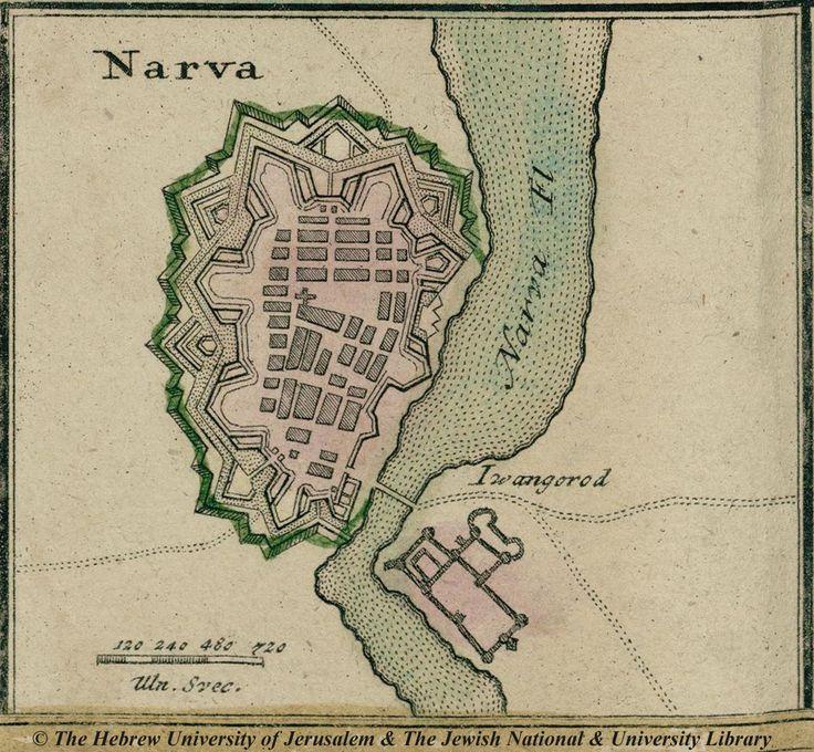 Map of the city of Narva Estonia