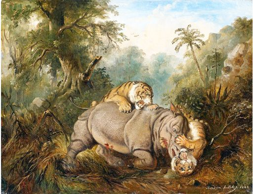 The Year in Art: Surviving the Test of Time || The classic: Battle between a Young Javanese Rhinoceros and Two Tigers by Raden Saleh gets high auction price in November this year. Courtesy of Van Nam.com