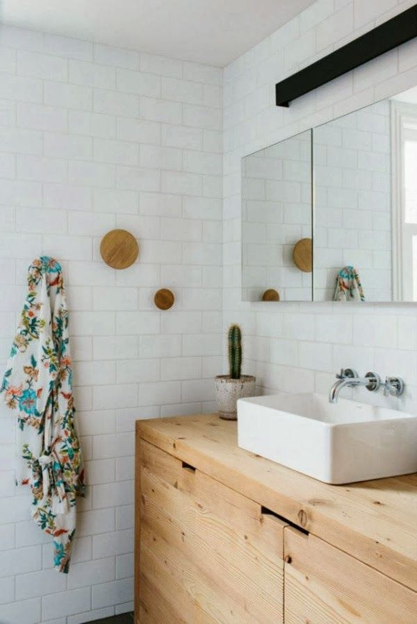 Love this home! Rustic modern - wood and white subway tile looks amazing